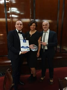 Nadia Iacovelli with Mr. Stefano Ricagno from Acquesi 1952, awarded for the Cuvage ASTI DOCG
